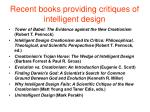 recent books providing critiques of intelligent design