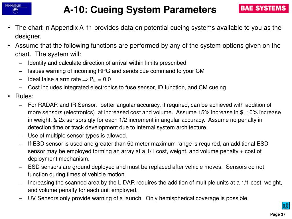 A-10: Cueing System Parameters
