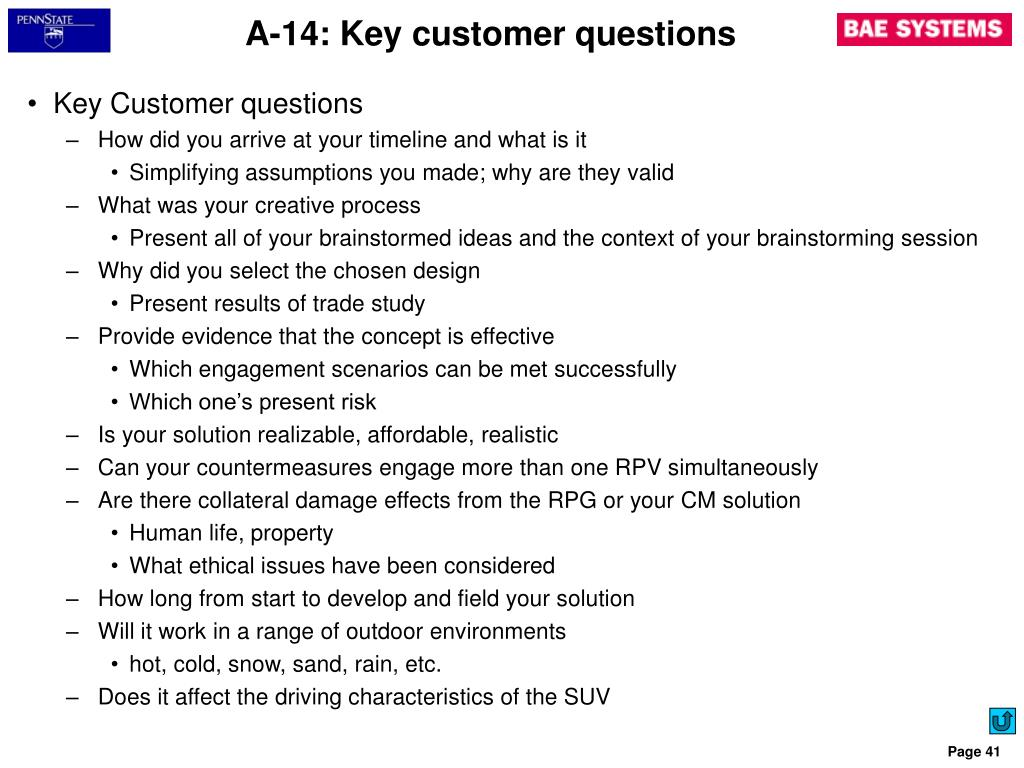 A-14: Key customer questions