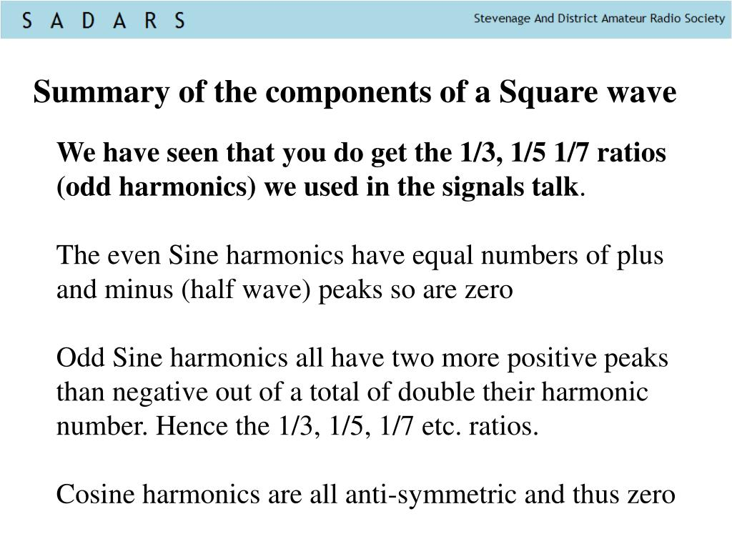 Summary of the components of a Square wave
