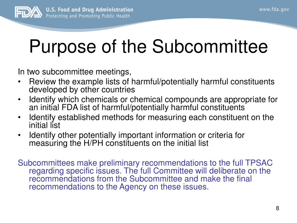 Purpose of the Subcommittee