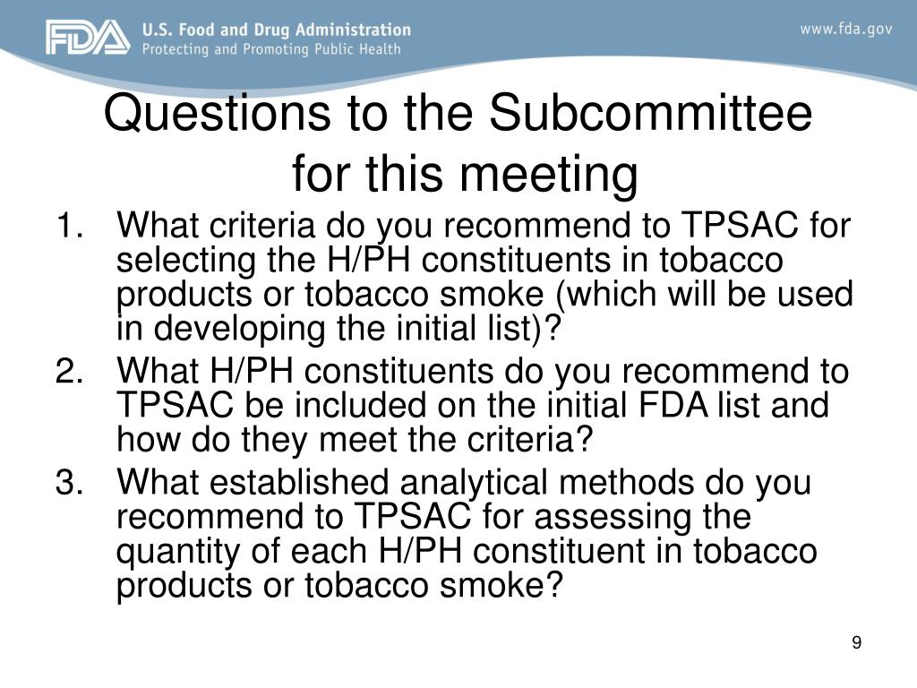 Questions to the Subcommittee