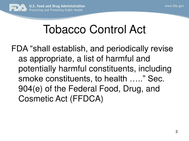 Tobacco control act