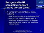 background to nz accounting standard setting process cont