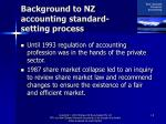 background to nz accounting standard setting process