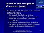 definition and recognition of revenues cont