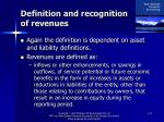 definition and recognition of revenues