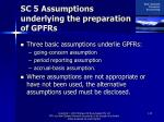 sc 5 assumptions underlying the preparation of gpfrs