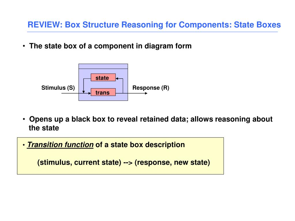 REVIEW: Box Structure Reasoning for Components: State Boxes