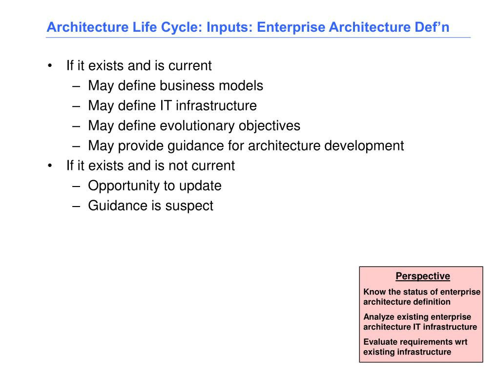Architecture Life Cycle: Inputs: Enterprise Architecture Def'n