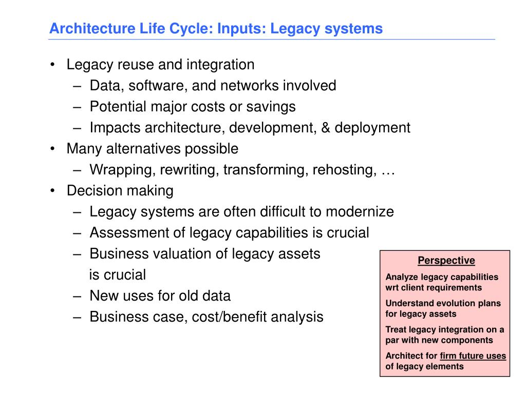 Architecture Life Cycle: Inputs: Legacy systems