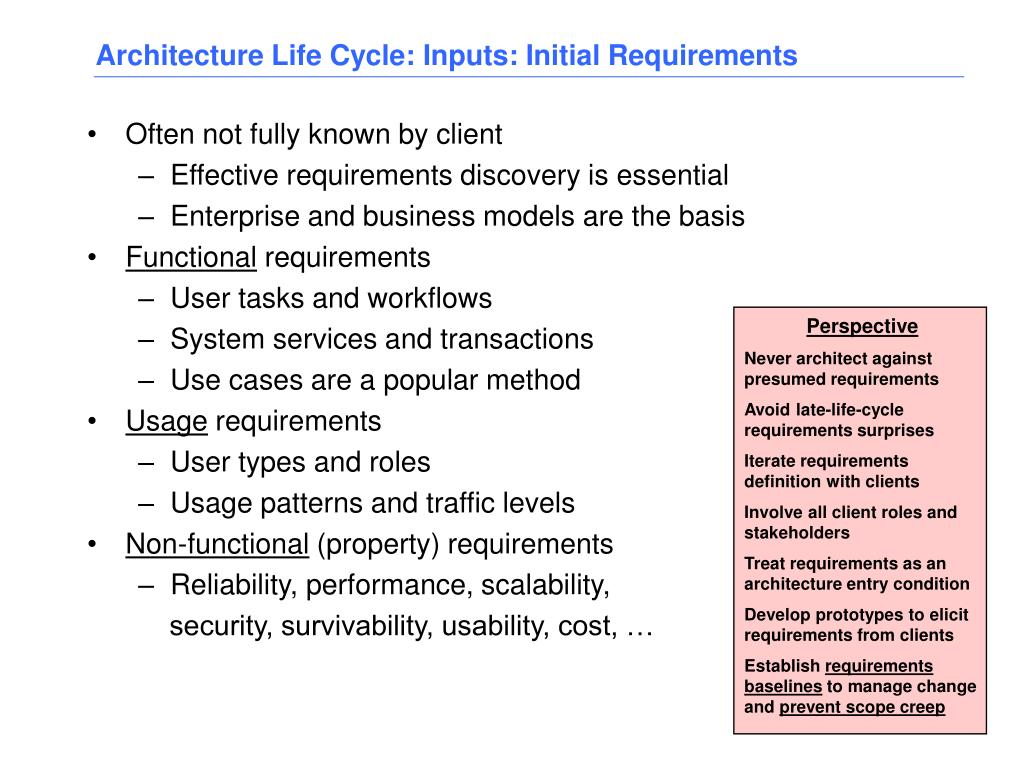 Architecture Life Cycle: Inputs: Initial Requirements