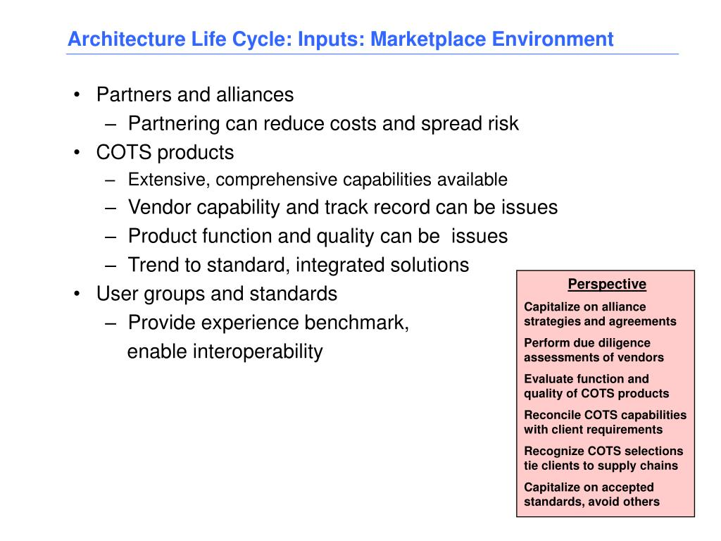 Architecture Life Cycle: Inputs: Marketplace Environment