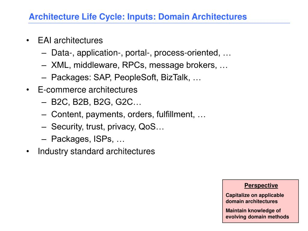Architecture Life Cycle: Inputs: Domain Architectures