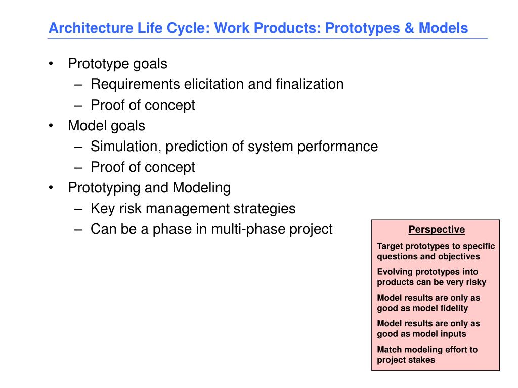 Architecture Life Cycle: Work Products: Prototypes & Models