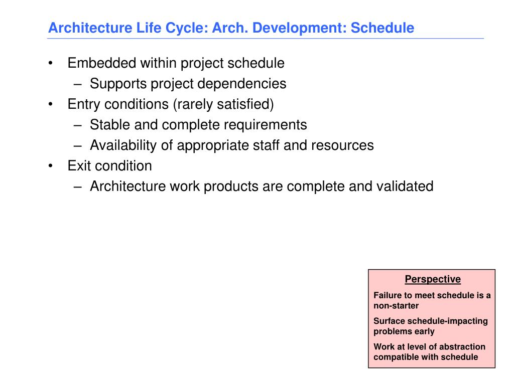 Architecture Life Cycle: Arch. Development: Schedule