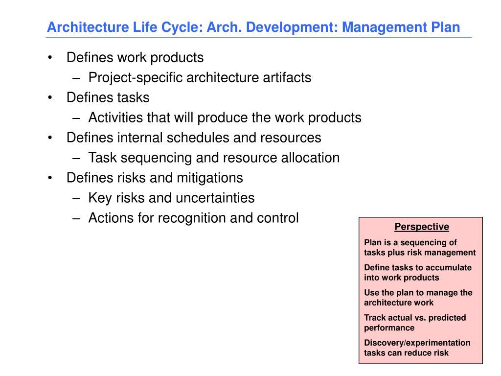 Architecture Life Cycle: Arch. Development: Management Plan