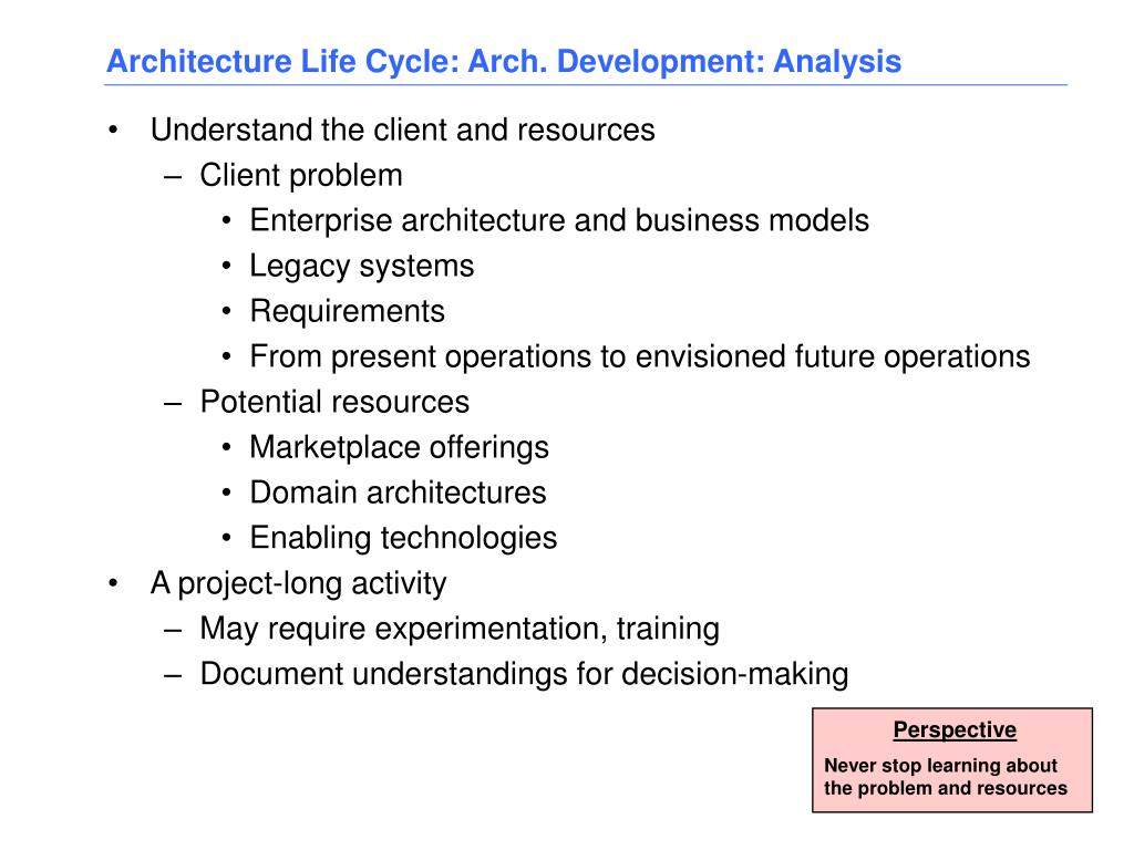 Architecture Life Cycle: Arch. Development: Analysis