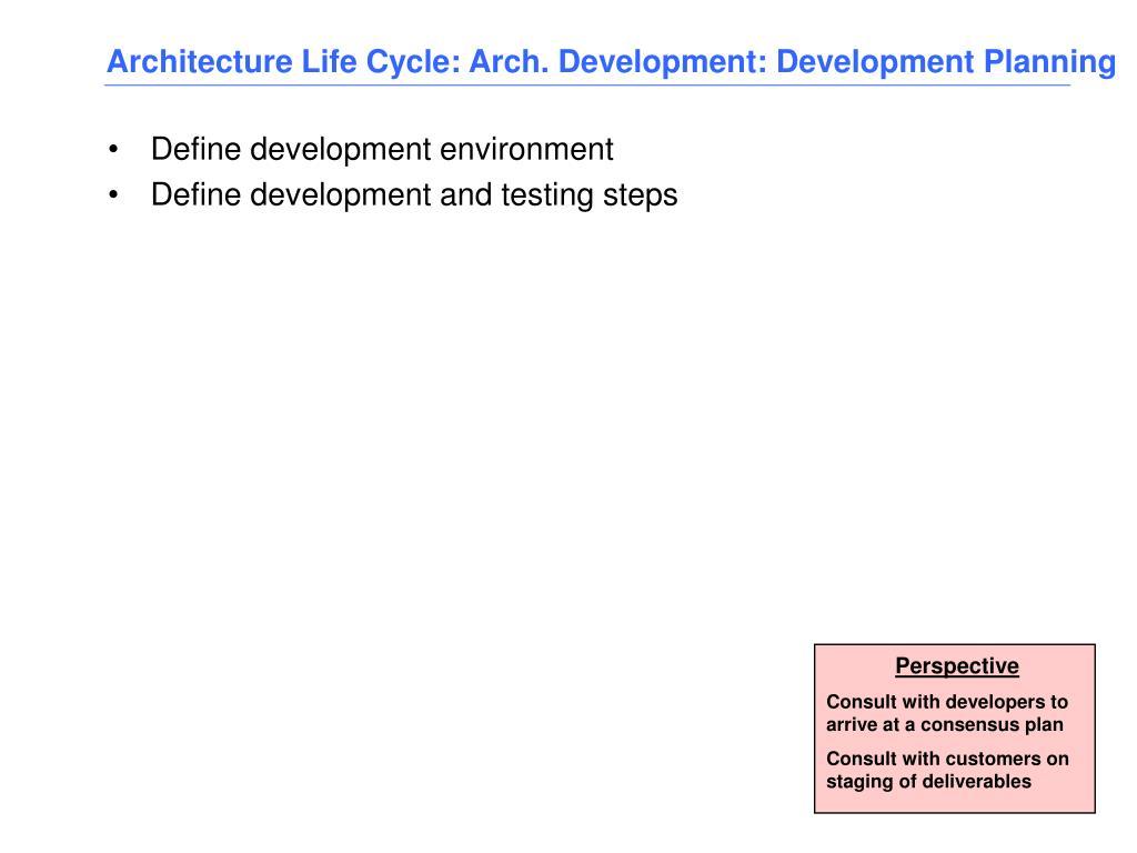 Architecture Life Cycle: Arch. Development: Development Planning