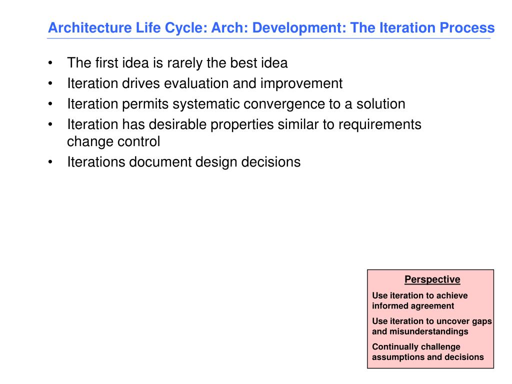 Architecture Life Cycle: Arch: Development: The Iteration Process