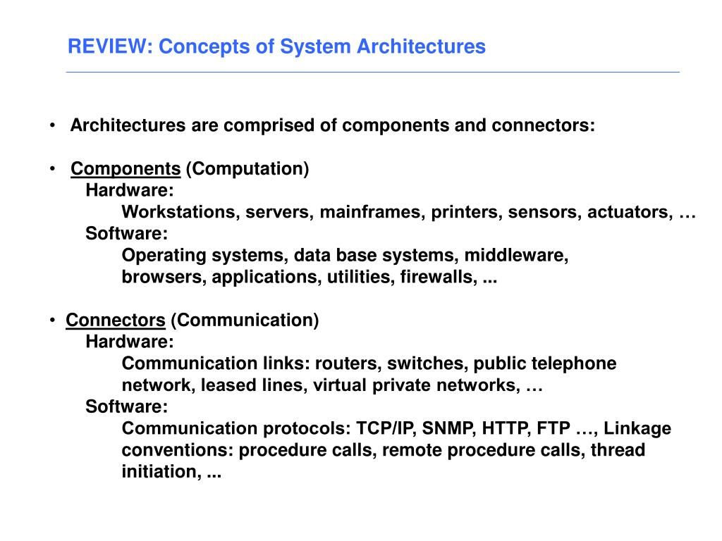 REVIEW: Concepts of System Architectures