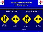 increase minimum size of signs cont