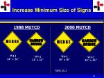 increase minimum size of signs