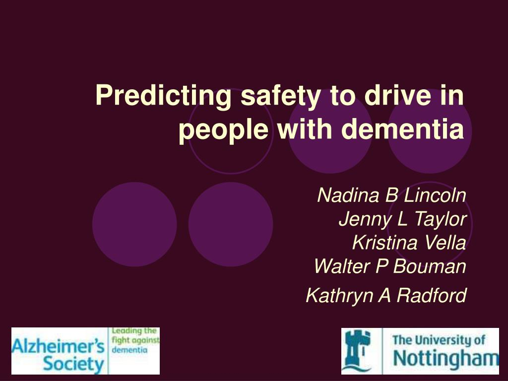 predicting safety to drive in people with dementia l.