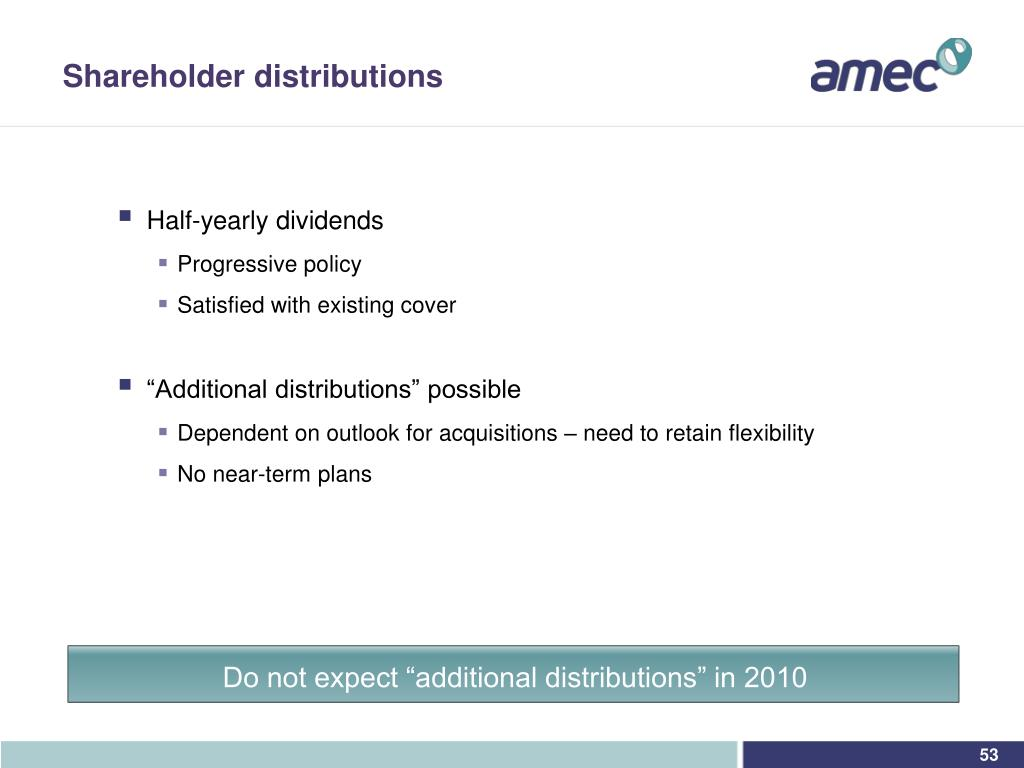 "Do not expect ""additional distributions"" in 2010"