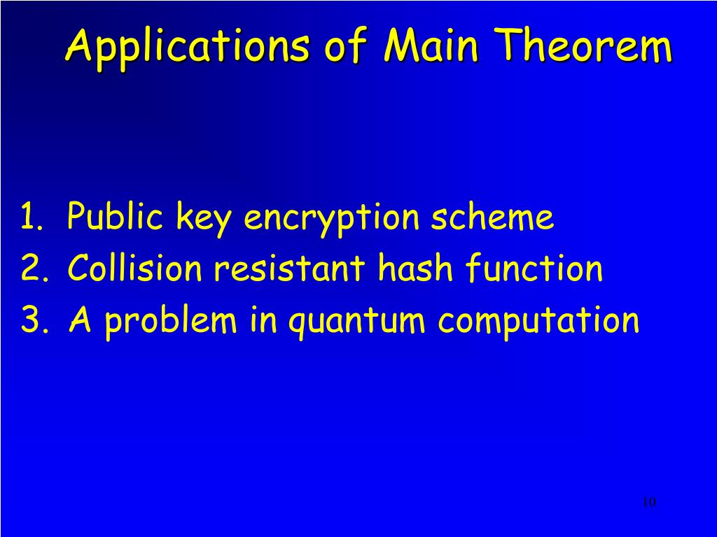Applications of Main Theorem