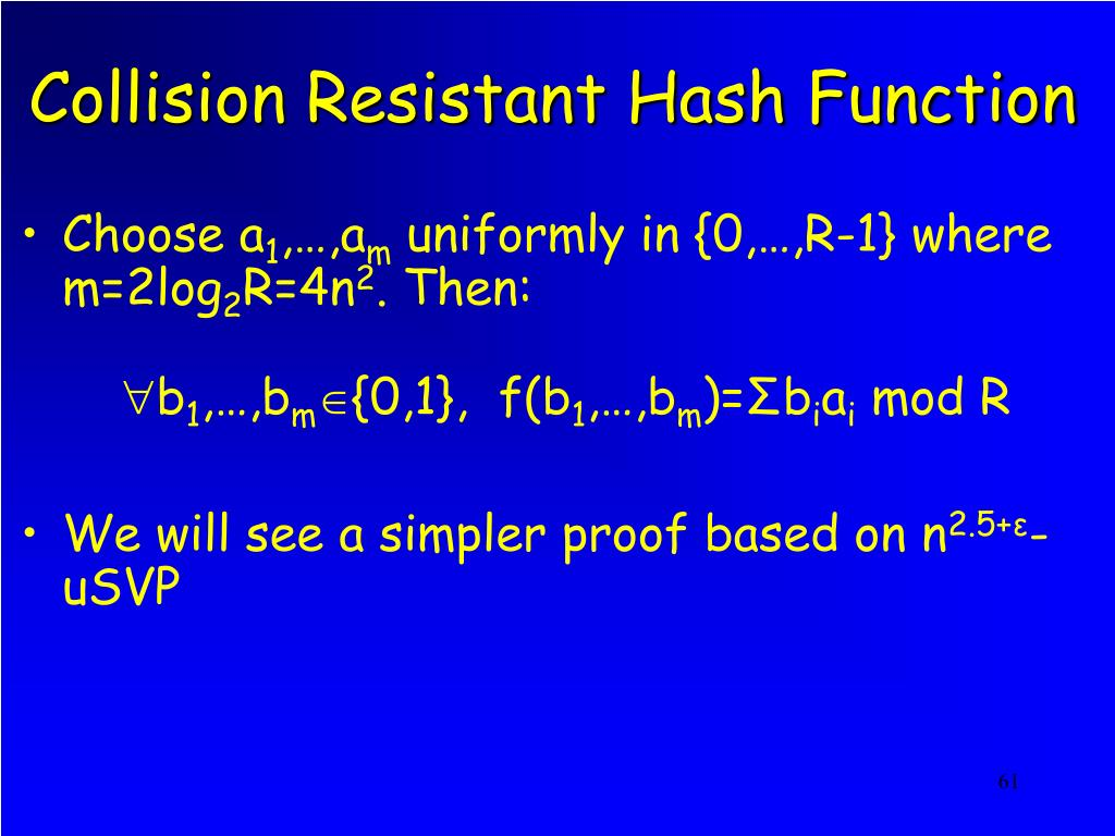Collision Resistant Hash Function