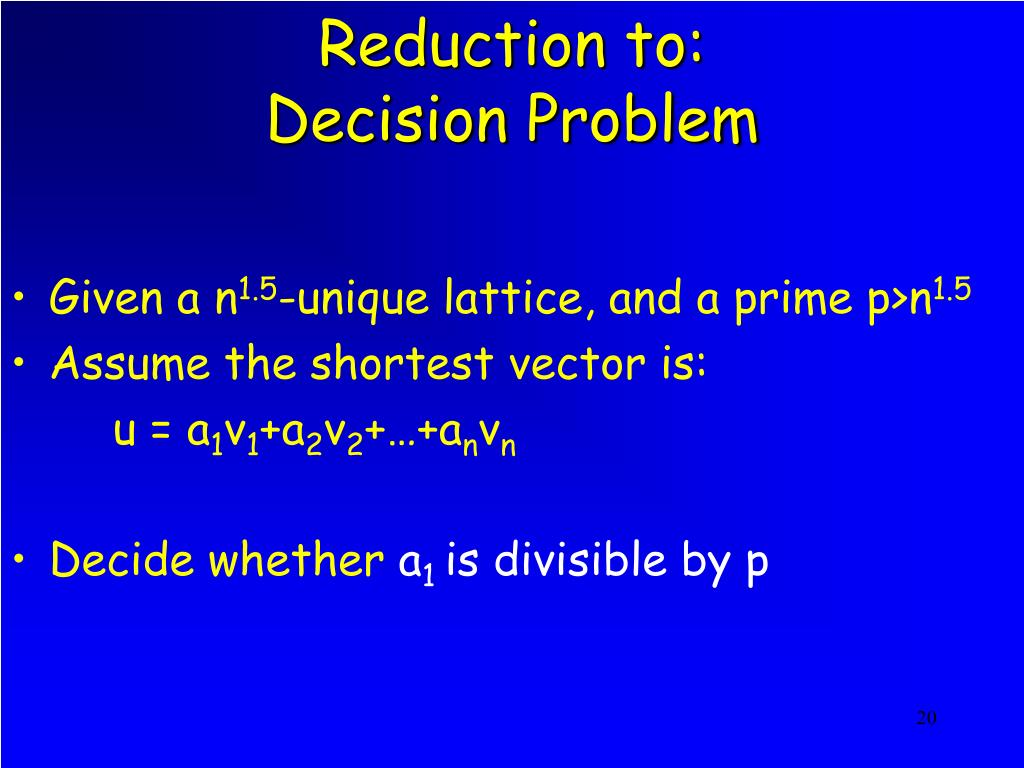 Reduction to: