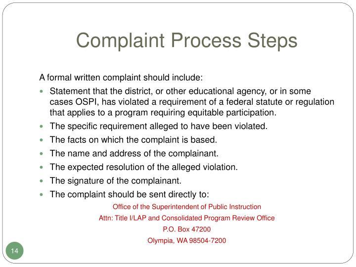Complaint Process Steps