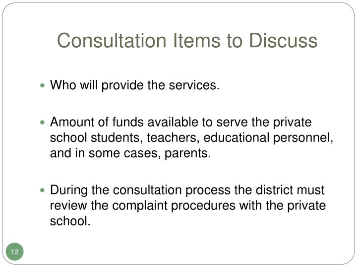 Consultation Items to Discuss