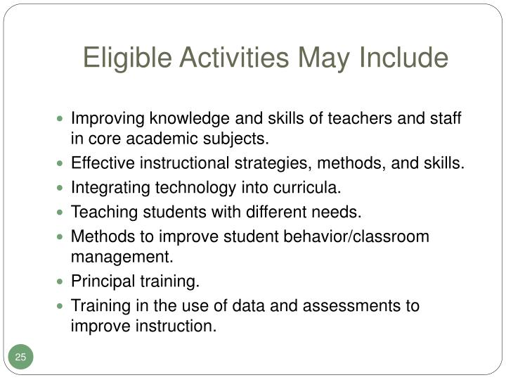 Eligible Activities May Include
