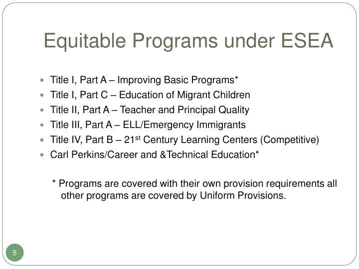 Equitable Programs under ESEA