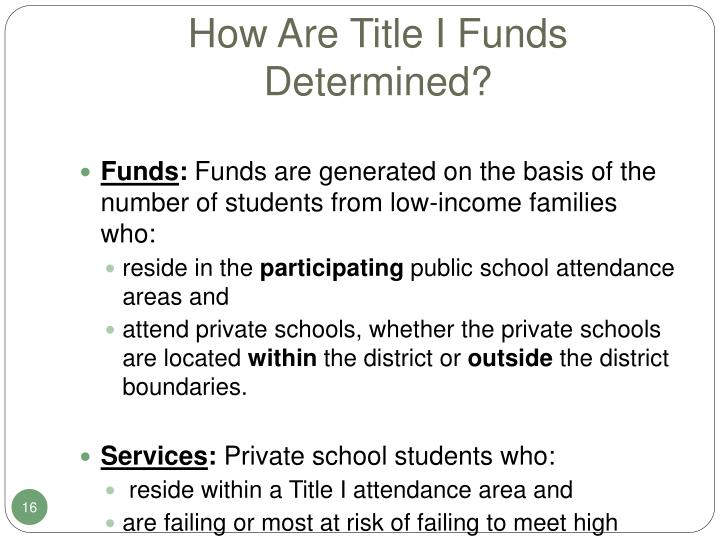 How Are Title I Funds Determined?