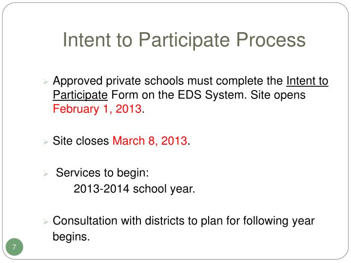 Intent to Participate Process