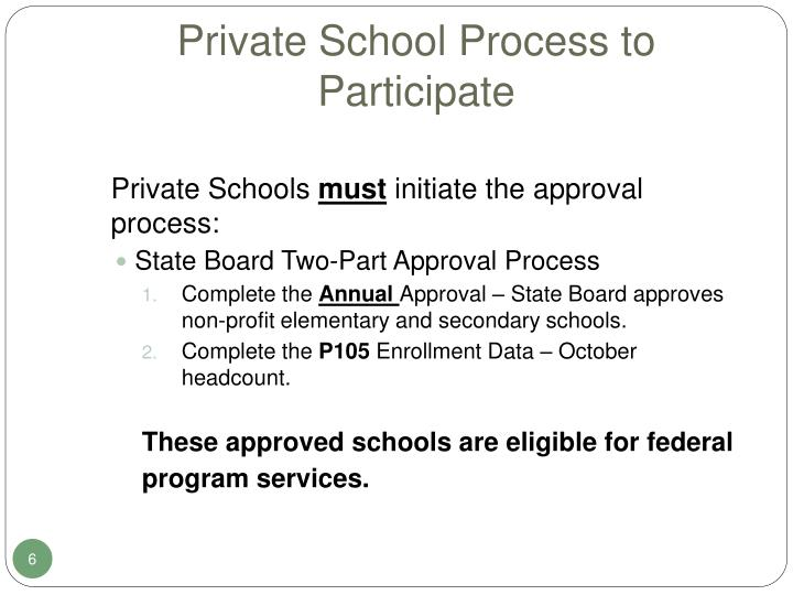 Private School Process to Participate