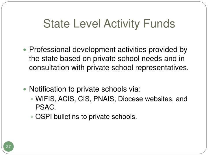 State Level Activity Funds