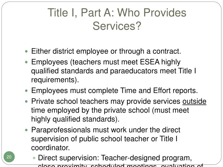 Title I, Part A: Who Provides Services?