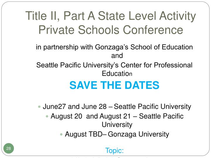 Title II, Part A State Level Activity