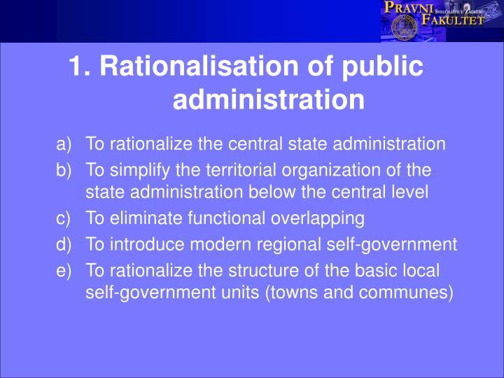 1 rationalisation of public administration