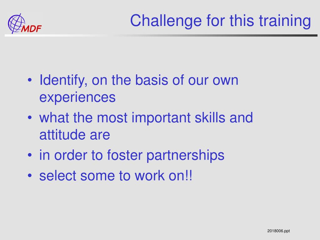 Challenge for this training