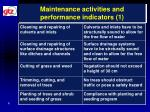 maintenance activities and performance indicators 1