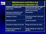 maintenance activities and performance indicators 2