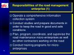 responsibilities of the road management enterprise 1