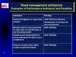 road management enterprise examples of performance indicators and penalties