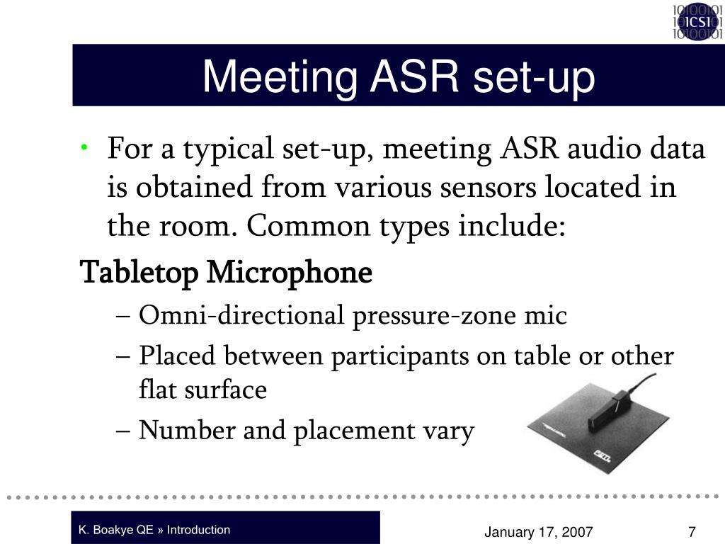 Meeting ASR set-up