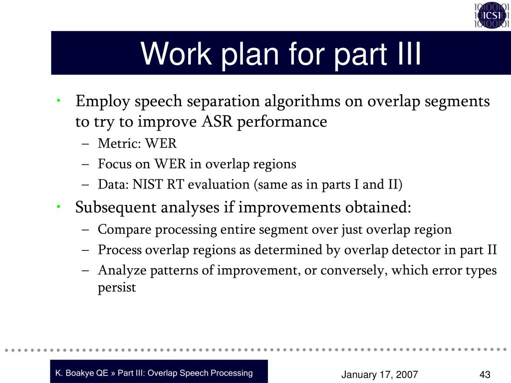 Work plan for part III